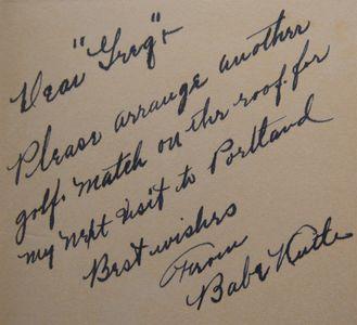 Babe Ruth Handwritten Note