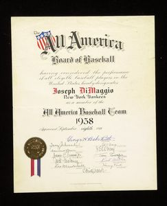 1938 Babe Ruth Signed Joe DiMaggio All-America Certificate