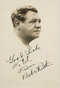 Babe Ruth Signed and Inscribed Photo