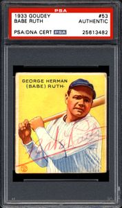 Babe Ruth Signed Card