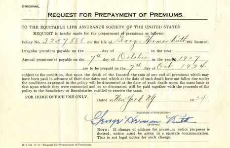 Babe Ruth Signed Document