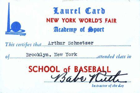 Babe Ruth Signed World's Fair Card