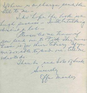 Effa Manley Handwritten Letter