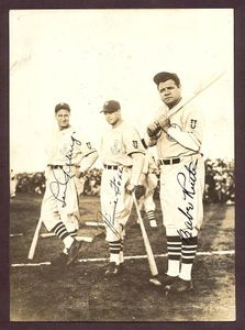 Lou Gehrig, Jimmie Foxx and Babe Ruth Signed Photo