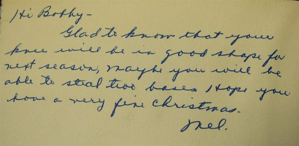 Mel Ott Handwritten Note