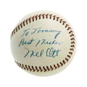 Mel Ott Signed Ball
