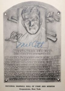 Mel Ott Signed Hall of Fame Plaque