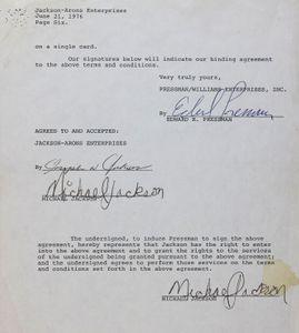 Michael Jackson-Joe Jackson-Edward R. Pressman Signed Contract