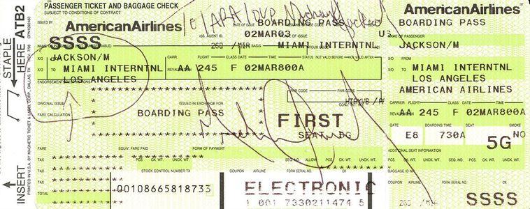 Michael Jackson Signed Boarding Pass
