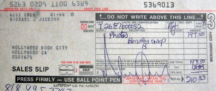 Michael Jackson Signed Receipt
