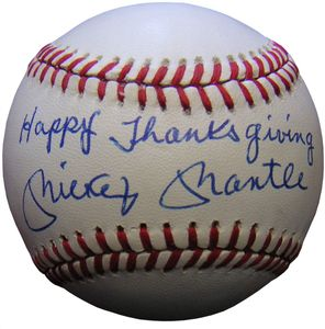 Mickey Mantle Inscribed Baseball