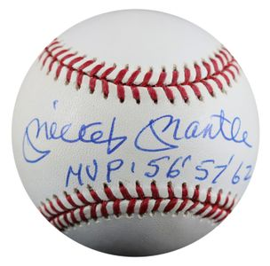Mickey Mantle Signed Baseball with MVP Inscriptions