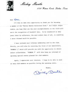 Mickey Mantle Signed Club Letter