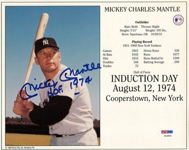 Mickey Mantle Signed Display