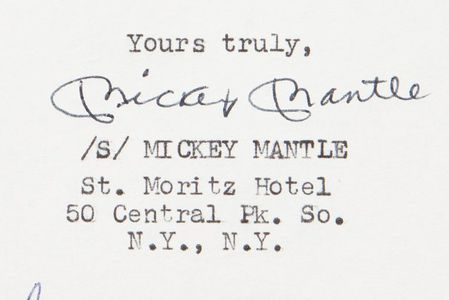 Mickey Mantle Signed Letter Closeup