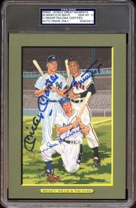 Signed Mickey Mantle, Willie Mays & Duke Snider Perez Steele Greatest Moments Card