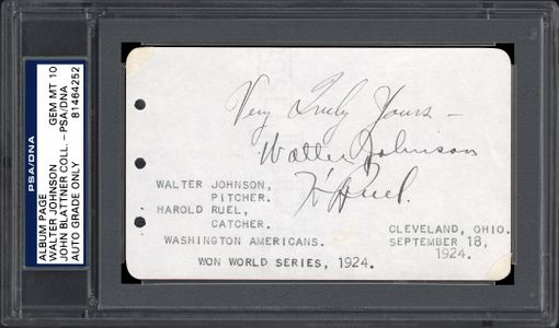 Signed Walter Johnson Album Page