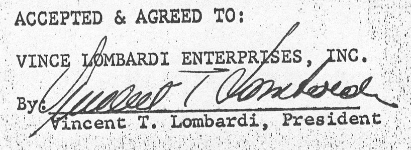 Vince Lombardi Signed Contract (Copy)