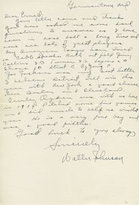 Walter Johnson Handwritten Letter