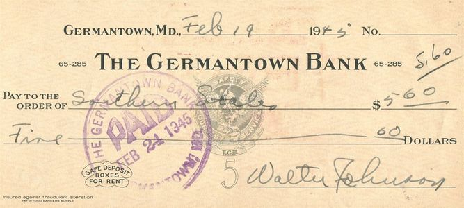 Walter Johnson Signed Check