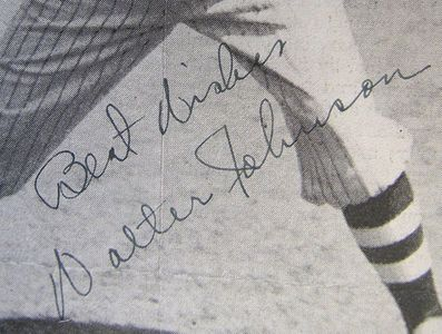 Walter Johnson Signed Photo Closeup