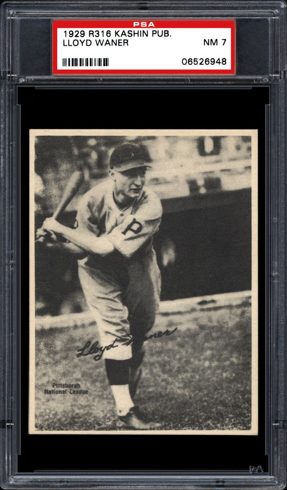 1929 Kashin Publications R316 Lloyd Waner Psa Cardfacts