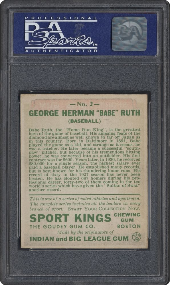 1933 Goudey Sport Kings Babe Ruth (Baseball) | PSA CardFacts™