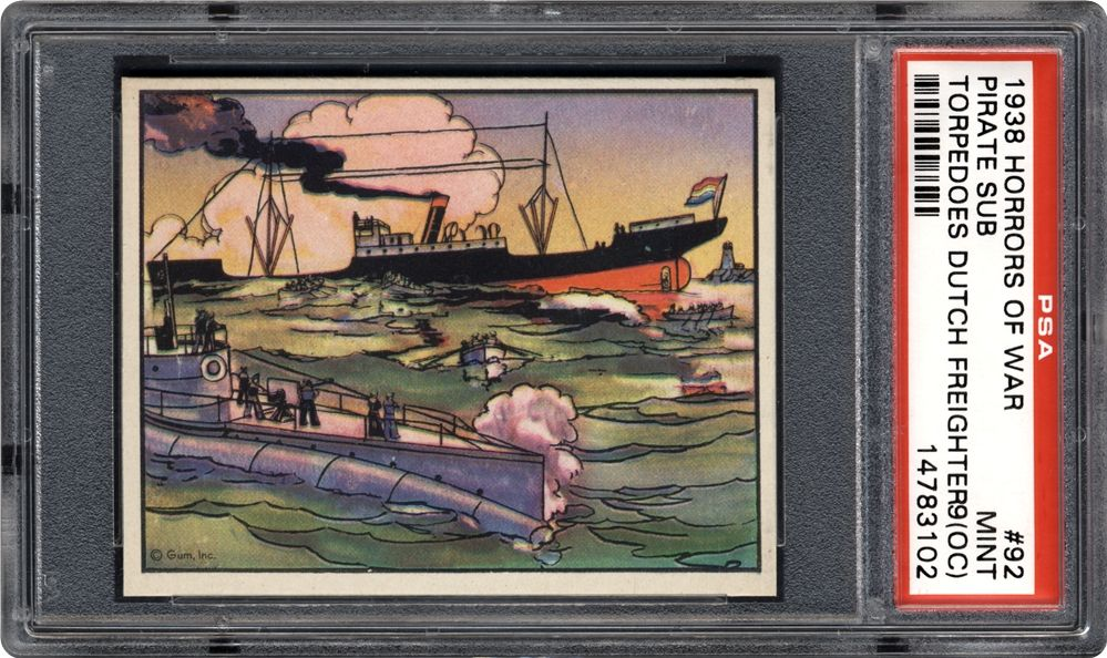 1938 horrors of war pirate sub torpedoes dutch freighter psa