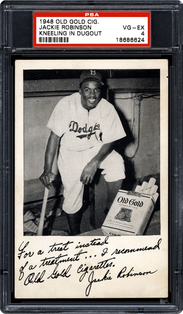1948 Old Gold Cigarettes Jackie Robinson Kneeling In Dugout Psa