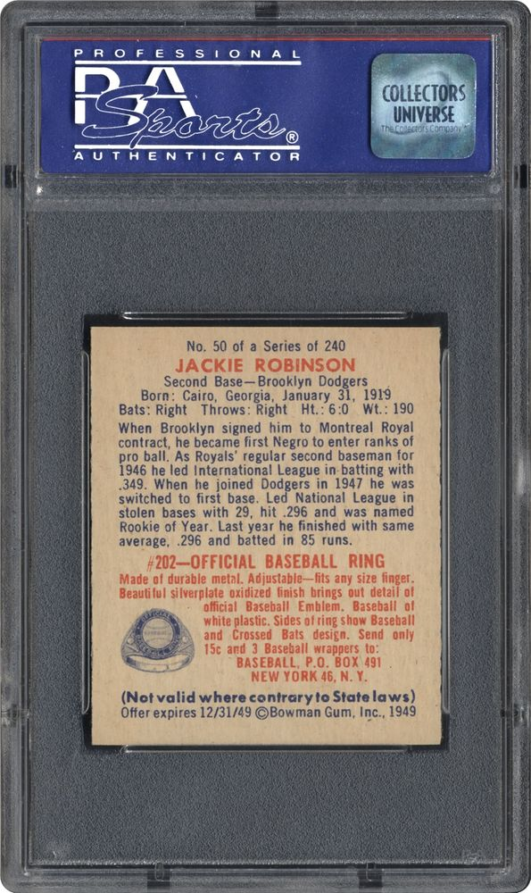 1949 Bowman Jackie Robinson Psa Cardfacts