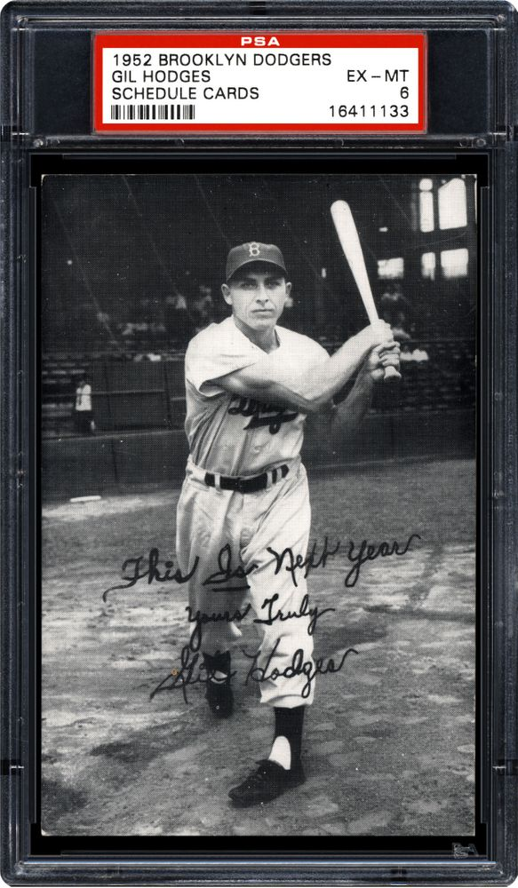 1952 Brooklyn Dodgers Schedule Cards Gil Hodges Psa Cardfacts
