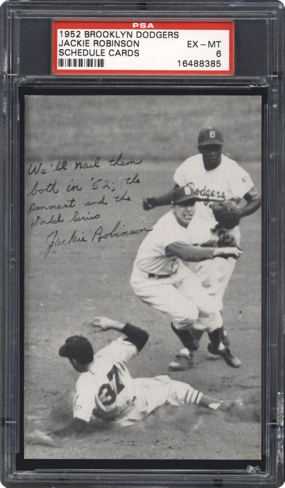 Baseball Cards 1952 Brooklyn Dodgers Schedule Cards Psa