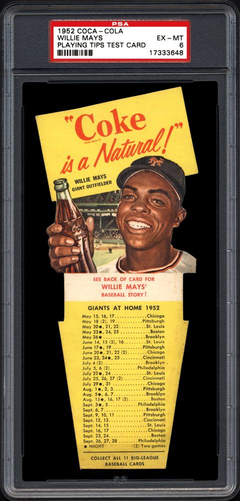 1952 Coca Cola Playing Tips Test Willie Mays Psa Cardfacts