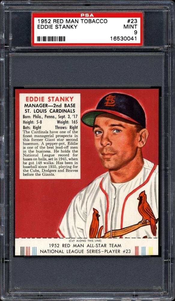 1952 Red Man Tobacco Eddie Stanky Psa Cardfacts