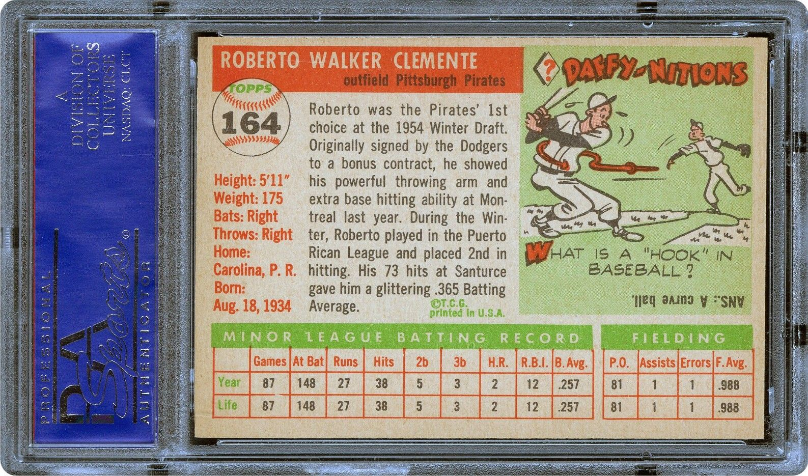 1955 Topps Roberto Clemente Psa Cardfacts