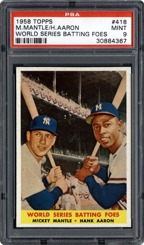 1958 Topps World Series Batting Foes Mickey Mantlehank Aaron