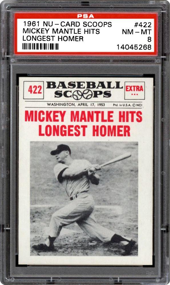 1961 Nu Card Scoops Mickey Mantle Hits Longest Homer Psa