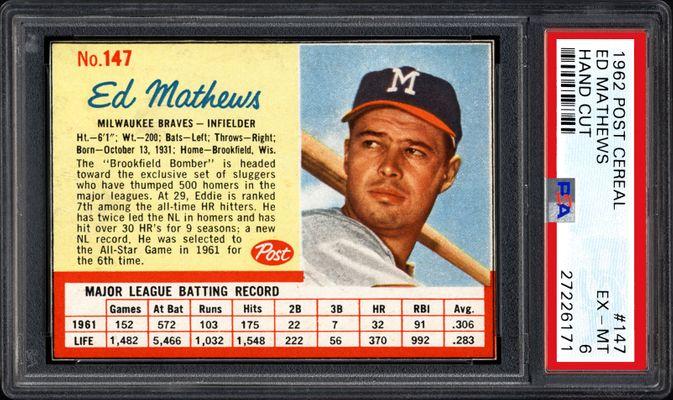225 45 15 >> 1962 Post Cereal Baseball Cards - PSA SMR Price Guide