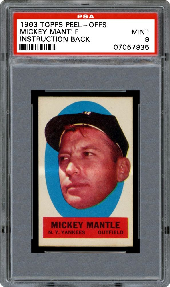 1963 Topps Peel Offs Mickey Mantle Instruction Back Psa Cardfacts