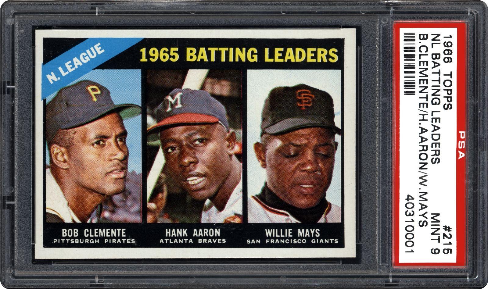 1966 Topps Nl Batting Leaders Bob Clementehank Aaron