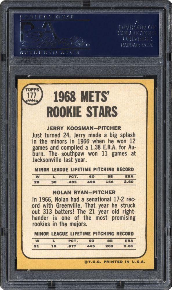 1968 Topps Mets Rookies Jerry Koosmannolan Ryan Psa