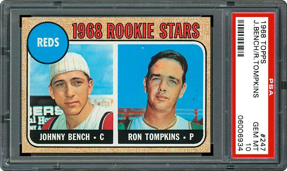 1968 Topps Reds Rookies Johnny Bench Ron Tompkins Psa