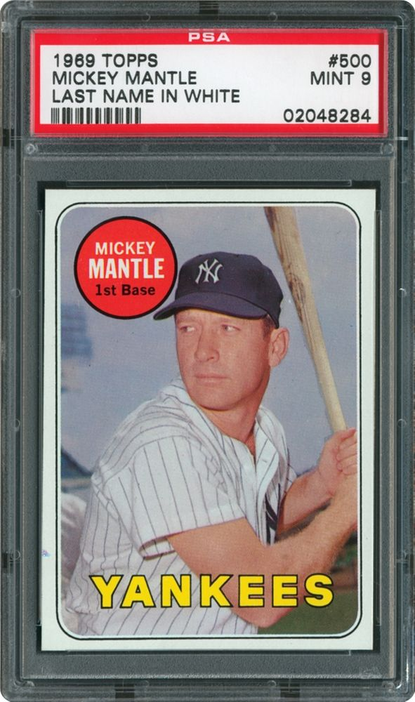 1969 Topps Mickey Mantle Last Name In White Psa Cardfacts