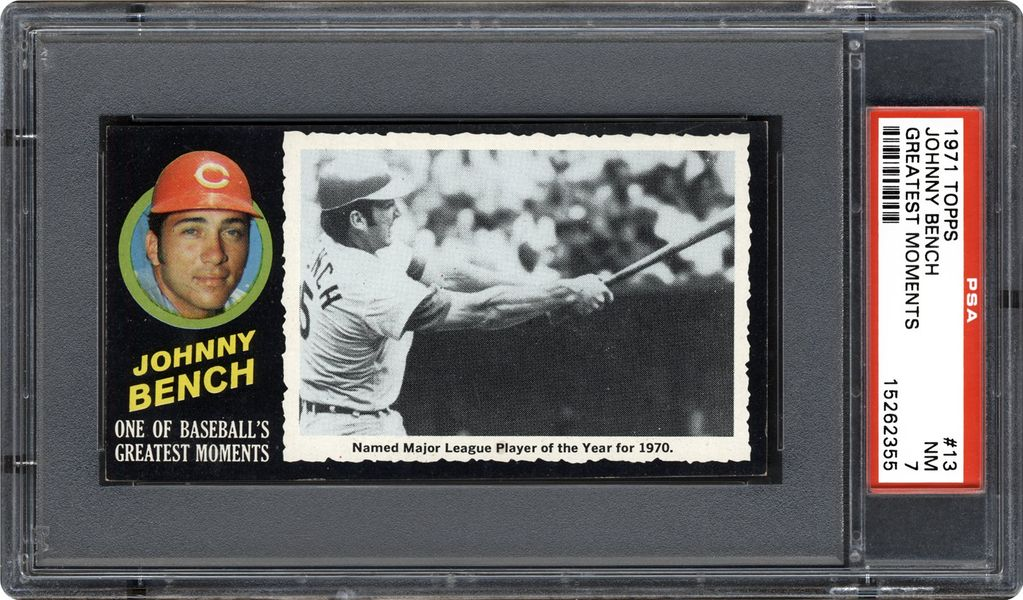 1971 Topps Greatest Moments Johnny Bench Psa Cardfacts