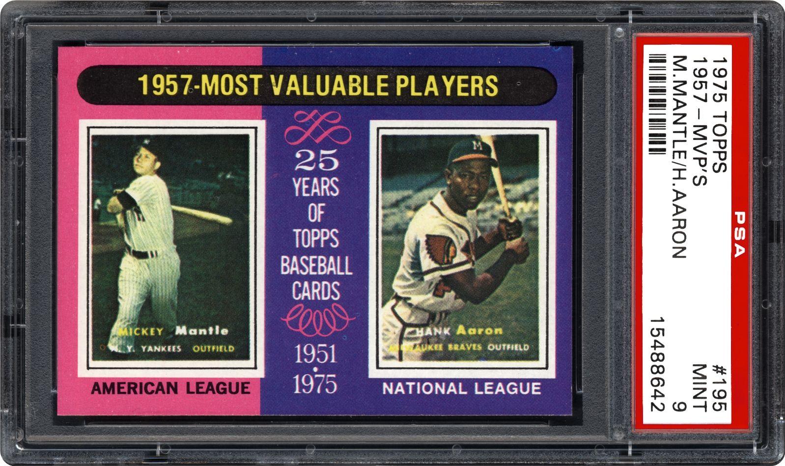 1975 Topps 1957 Mvps Mickey Mantlehank Aaron Psa Cardfacts
