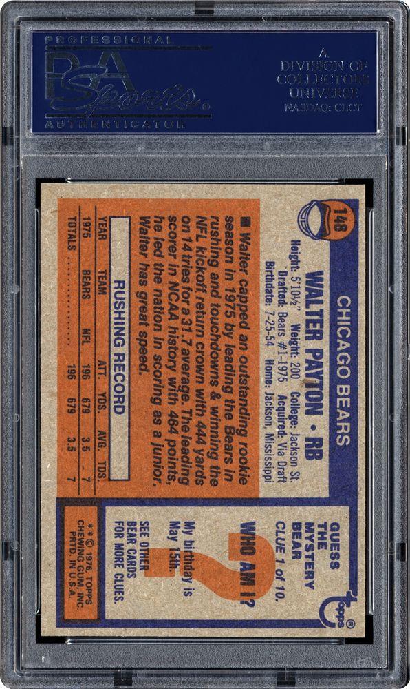 1976 Topps Walter Payton Psa Cardfacts