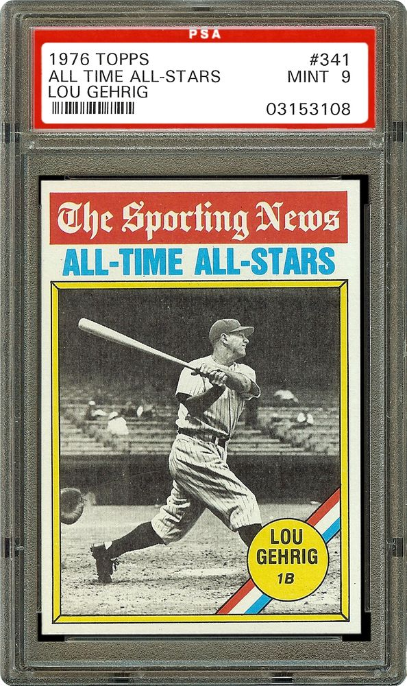 1976 topps lou gehrig all time all star psa cardfacts. Black Bedroom Furniture Sets. Home Design Ideas