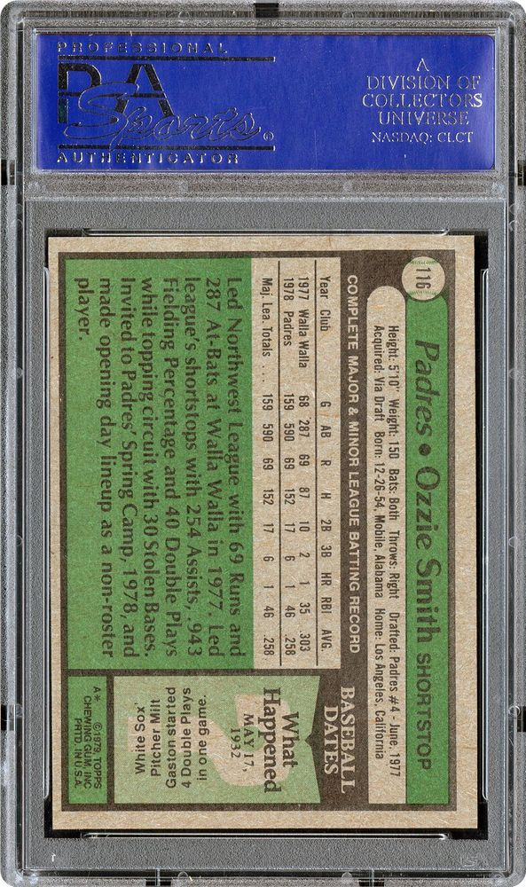 1979 Topps Ozzie Smith Psa Cardfacts
