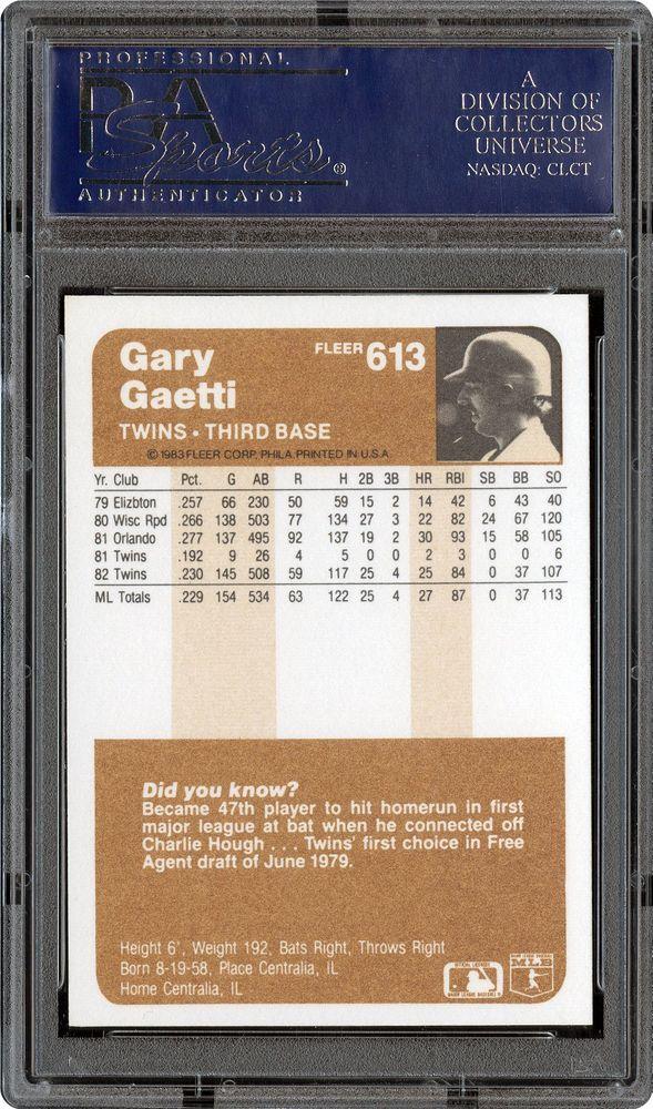 1983 Fleer Gary Gaetti | PSA CardFacts™