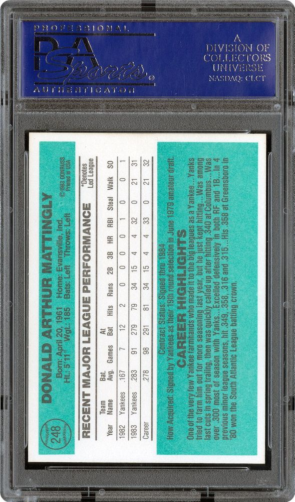 1984 Donruss Don Mattingly Psa Cardfacts